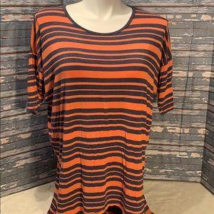 LuLaRoe orange and gray striped Irma. Size…